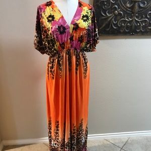 Orange printed floor length maxi dress